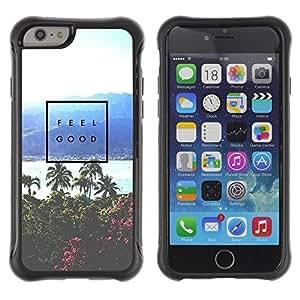 Suave TPU Caso Carcasa de Caucho Funda para Apple Iphone 6 PLUS 5.5 / feel good poster palm tree tropical sea / STRONG