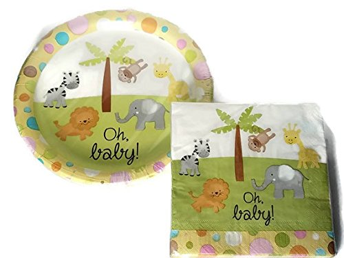 Unisex Baby Shower Paper Plates and Napkins for 18: Two (2) Item Bundle ()