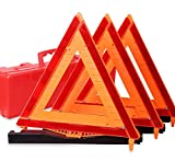 CARTMAN Warning Triangle DOT Approved 3PK - Identical to: United States FMVSS 571.125 - Reflective Warning Road Safety Triangle Kit