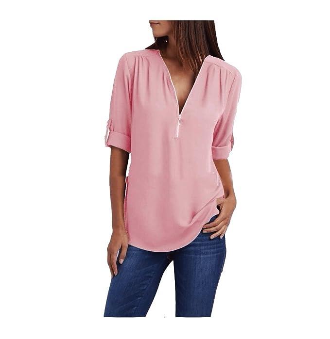 SYGoodBUY Camisa de Mujer Blusa de Manga Corta con Cuello en V Blusa Cremallera Suelta Sexy