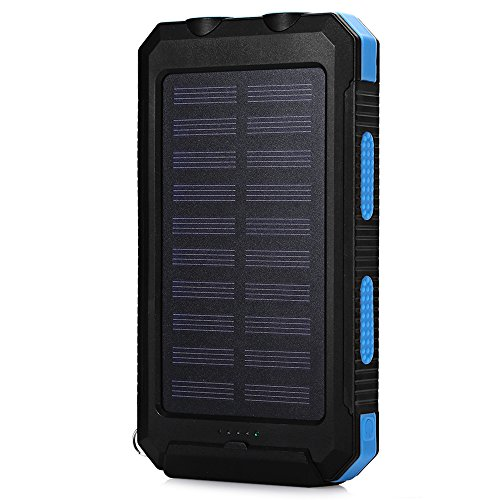 Solar Charger, KDY Portable Solar Power Bank Waterproof USB Solar Battery Charger for Cell Phone,iPhone,Samsung (Blue)