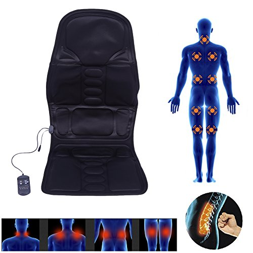 Massage Seat Pad with 5 Massage Zones, Electric Heat Therapy Vibration Massage Pad with Remote Control, Shiatsu Seat Heating Massage Mat Massage Cushion Kneading Hip Muscles for Home Office Car (US) ()