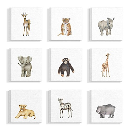 "The Stupell Home Decor Collection"" Watercolor Zoo Animal Illustration Stretched Canvas Wall Art, Multicolor made in Rhode Island"