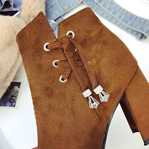 Women Zipper HOMEBABY Boot Casual Winter Boots Shoes Boots Brown Warm Martin High Heels Ankle Suede rqwxzUrf4