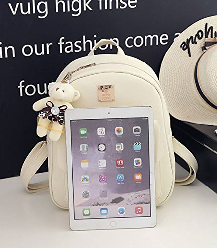 Fahsion Backpack 3 Girls for Leather Bowknot Women Pieces Beige Purse Backpack Mini qqH0Rtx