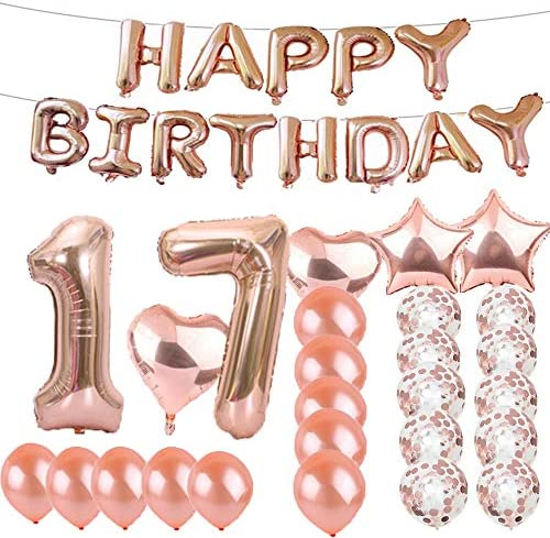 [해외]Sweet 17th Birthday Decorations Party SuppliesRose Gold Number 17 Balloons17th Foil Mylar Balloons Latex Balloon DecorationGreat 17th Birthday Gifts for GirlsWomenMenPhoto Props / Sweet 17th Birthday Decorations Party SuppliesRose ...