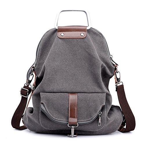 (Vintage Canvas Backpack For Women School College Travel Laptop Portable Rucksack Sling Shoulder Bag Lightweight Large Capacity Grey)