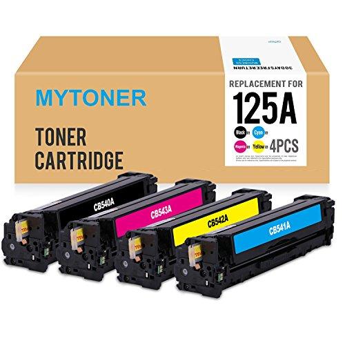 MYTONER 125A Compatible HP 125A CB540A Toner Cartridge for HP Color LaserJet CP1215 CP1518ni CP1515n CM1312nfi CM1312 MFP Series Printer, 4Pack(Black Cyan Yellow Magenta)