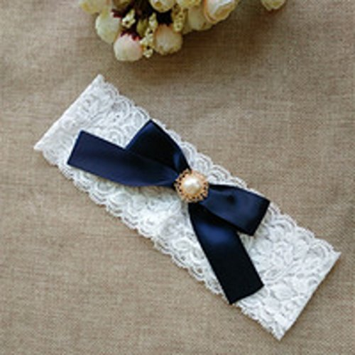 One Size Vintage Navy Ribbon Bow with Pearl Bridal Lace Garter for Wedding/Anniversary/Engagement/Birthday by unbrand