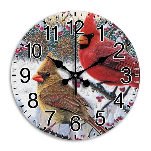 Battery Operated Quiet Stylish Round Wall Clock Frameless Arabic Numbers Time Quiet Sweep Diameter 11.8 - Round Cardinals Wall Clock