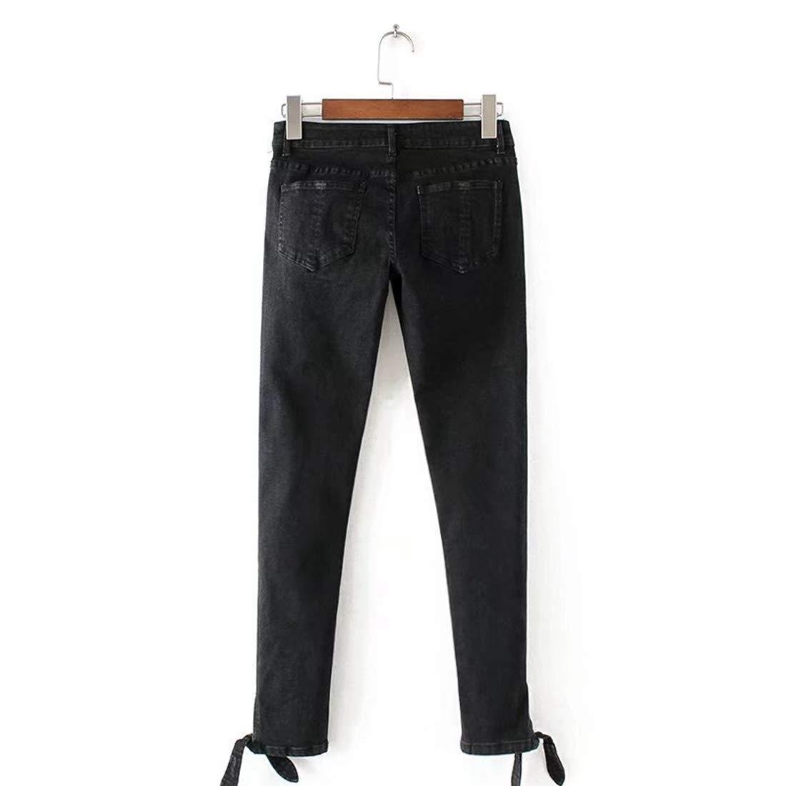 Black Sylviaan Fashion Women Jeans bluee Jeans Spring Knot Open Fork Rabbit Ears Nine Points Feet Jeans