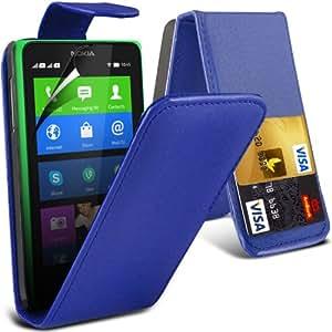 (Azul) Nokia XL puede diseñado tarjeta protectora de imitación de Crédito / Débito tirón del cuero de la caja de la piel de la cubierta y la pantalla del LCD Protector Por Spyrox