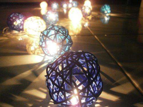 NAVA CHIANGMAI Christmas or Patio Party String Lights Thai Vintage Handmade Asian Oriental Handcraft Art Blue Rattan wood Ball Lamp (20/set) / Decor Accessory / Garden Decorative / Decor Modern Design