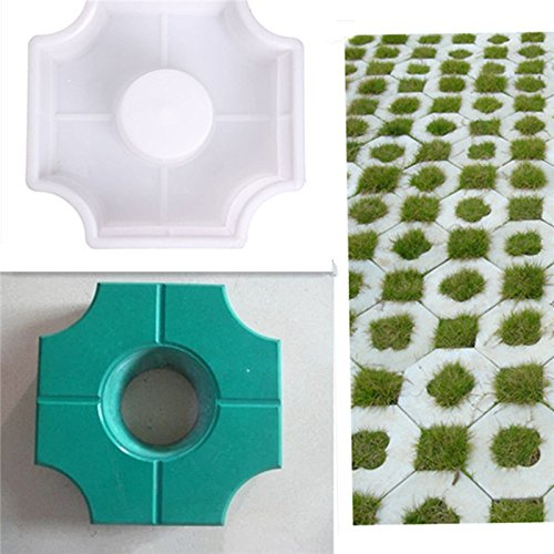 JTW DIY Middle Of Hole Shape Home Garden Path Concrete Brick Mold Paving Pavement Walkway Stone Pavement mold concrete mold stepping Plastic (27x27x8 cm) White color (Mold Plastic Stepping Stone Abs)
