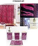 Pink Zebra Print Shower Curtain 17 Piece Bath Accessory Set- Pink Zebra Shower Curtain with Decorative Rings + Bathroom Accessories Set