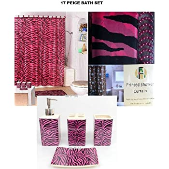 17 piece bath accessory set pink zebra shower for Zebra kitchen set