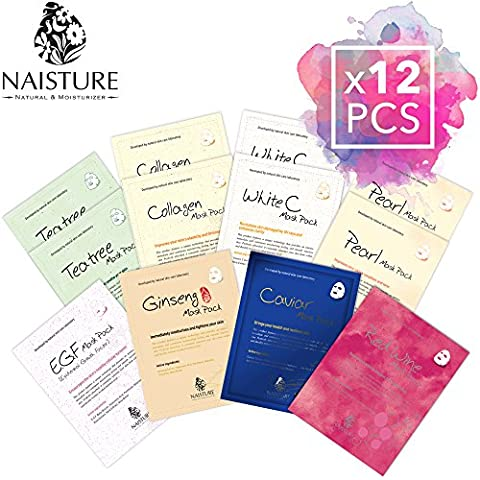 Facial Sheet Mask [NAISTURE] Face Treatment Pack (12 Sheets) Smooth Moisturizing Hydration Revitalizing - Made in - Face Sheet