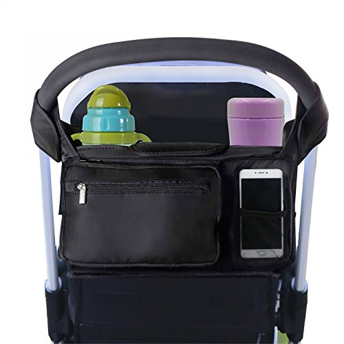 Stroller Organizer Black, ProCIV Universal Baby Stroller Bag Fits All Strollers Premium Deep Insulated Stroller Cup Holders Extra-Large Storage Space for iphones Diapers Cups - Premium Net Cards