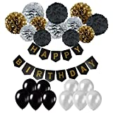 Cocodeko Happy Birthday Banner, Birthday Bunting Paper Garland with 12pcs Tissue Paper Pom Poms and 20pcs Balloons for Birthday Party Decorations - Black, Gold and Silver
