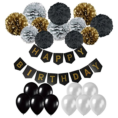Thai Silver Flower - Cocodeko Happy Birthday Banner, Birthday Bunting Paper Garland with 12pcs Tissue Paper Pom Poms and 20pcs Balloons for Birthday Party Decorations - Black, Gold and Silver