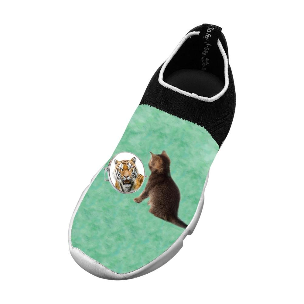 Sports Flywire Knitting Sports Shoes For Unisex Kids,Print Cat Tiger,