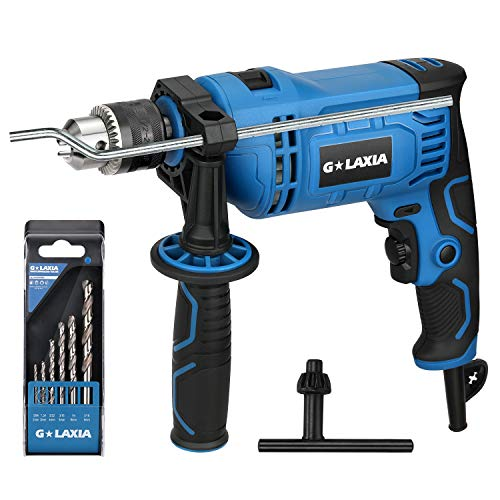 Impact Drill, GALAXIA 7.5Amp 1/2-inch Keyed 0-2800RPM Variable Speed Corded Drill with 5 Drill Bit Set, Hammer and Drill Functions, 360°Rotating Handle, Chuck Key, Depth Gauge for Accurate Drill