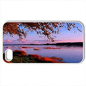 autumn sunset on a lake - Case Cover for iPhone 4 and 4s (Lakes Series, Watercolor style, White)