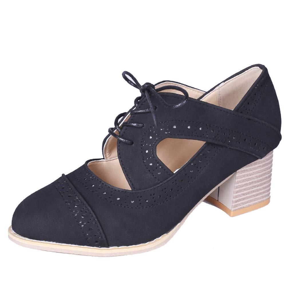 Kauneus  Women's Cut Out Ankle Boots Breathable Vintage Oxford Block Heel Pumps Black