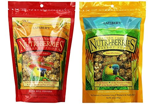(Lafeber's Nutri-Berries Parrot Food 2 Flavor Variety Sampler Bundle: (1) El Paso with Bell Peppers, and (1) Garden Veggie with Carrots/Peas/Broccoli, 10 Oz. Ea. (2 Bags))