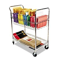 Alera Wire Mail Cart, Chrome
