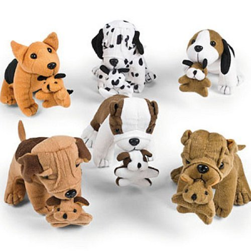 Fun Express Plush Dogs Holding Puppies (1 Dozen)