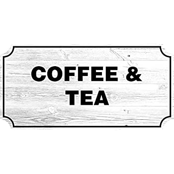 Coffee Tea Farmhouse Country Sign Rustic Wall Decor Living Room Signs 12x24 Inch White Plastic