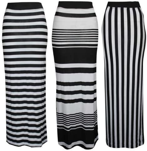 Baleza Mujeres Vertical Horizontal Stripe Print Gipsy Maxi Falda ...