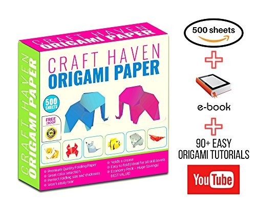 Craft Haven 15x15cm Double-Sided and Single Sided Origami Paper, 25 Assorted Colors with eBook Tutorial and Video Tutorials (500 Sheets)