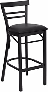 Flash Furniture HERCULES Series Black Two-Slat Ladder Back Metal Restaurant Barstool - Black Vinyl Seat