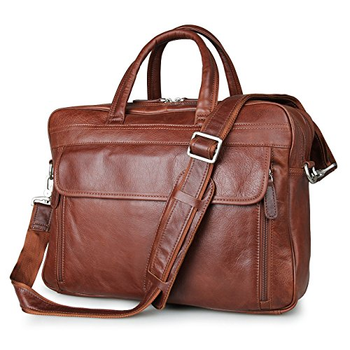 Men's Brown Top-Zip Leather 17 Inch Laptop Handbag Business Briefcases Tote Bag (Leather Travel Computer Brief)