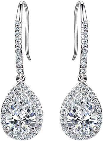 EleQueen Women's Silver-tone Cubic Zirconia Tear Drop Bridal Dangle Pierced Earrings Clear