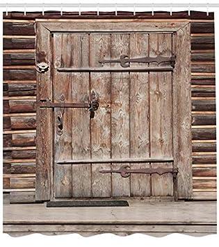 ABAKUHAUS Antico Tenda da Doccia 175 x 180 cm Arancio La Porta Rustico Ed Antico in Legno La Facciata di Baracca Legname Stagionato Tessuto Artificiale Stampato con 12 Anelli