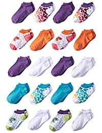 Fruit of the Loom girls 20 Pack Wild Butterfly and Leopard Low Cut Socks