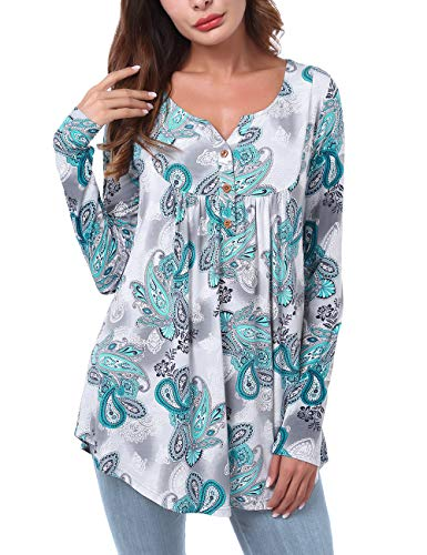 DJT FASHION Womens Pleated Long Sleeve Henley Shirt Button Flare Tunic Tops