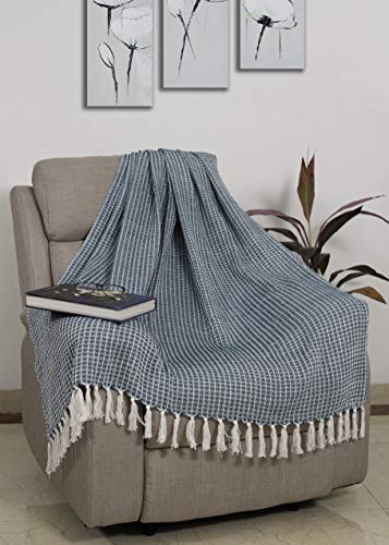- Glamburg 100% Cotton Throw Blanket for Couch Sofa Bed Beach Outdoor 50x60, Cotton Throws Blanket for Adults and Kids, All Season Waffle Weave Farmhouse Throw Blanket Teal