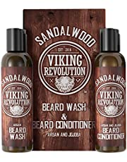 Viking Revolution Beard Wash & Beard Conditioner Set w/Argan & Jojoba Oils - Softens & Strengthens - Natural Sandalwood Scent - Beard Shampoo w/Beard Oil (5oz)
