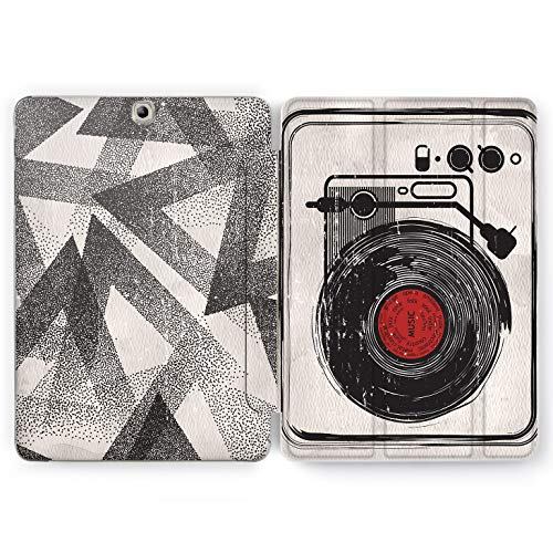 Wonder Wild Vinyl Player Samsung Galaxy Tab S4 S2 S3 A E Smart Stand Case 2015 2016 2017 2018 Tablet Cover 8 9.6 9.7 10 10.1 10.5 Inch Clear Retro Music Dj Night Club Dancing Rave Stereo Creative