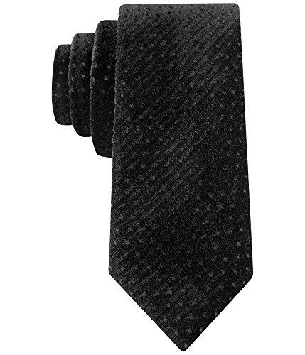 Sean John Mens Perforated Velvet Necktie Black One Size