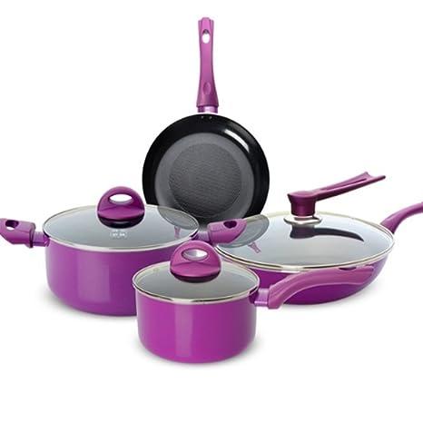 MMYUNX NONSTICK Cocinar Juego de sartenes Lila 7pcs Juego Cocinar ollas y sartenes Olla Olla Leche
