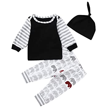 6dd0244fcdbf Amazon.com   3pcs Newborn Infant Kids Baby Boy Girl Clothes Tops ...