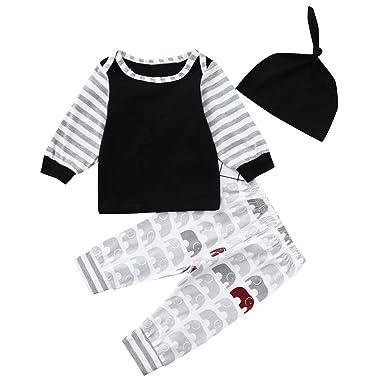 YanHoo Conjunto de pantalón de Dibujos Animados con Rayas de Manga Larga para bebés Conjunto de Ropa para niños Cheap Ropa de niños Vaqueros para Bebes ...