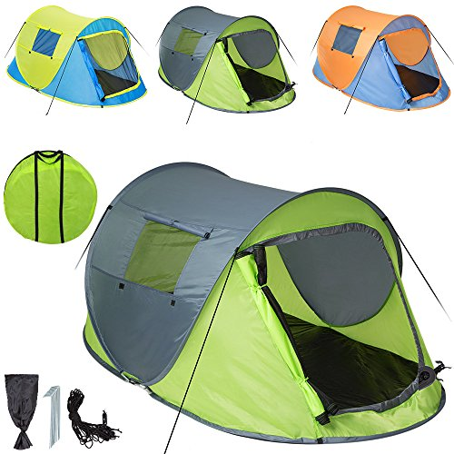 TecTake Wurfzelt Pop-up Zelt Automatikzelt für bis zu 2 Personen 1500mm Wassersäule + Tasche, Seile, Heringe - diverse Farben - (Grün-Grau | Nr. 401675)