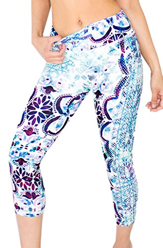 Appleletics Women's Unique Multi-Patterned Yoga Leggings Capri Pants (Small, Aqua Snake)