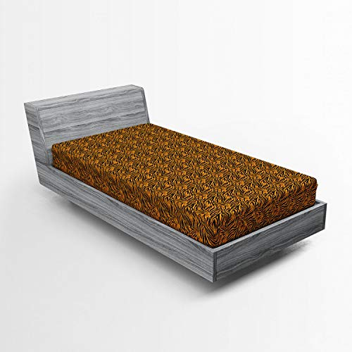 Ambesonne Tribal Fitted Sheet, Tiger Skin with Stripes and Warm Toned Background Motifs from African Culture, Soft Decorative Fabric Bedding All-Round Elastic Pocket, Twin Size, Orange ()